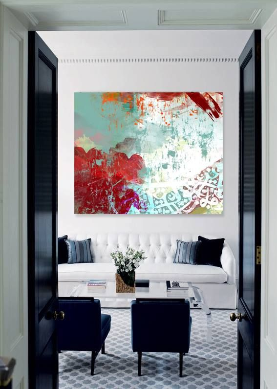 Large Red Green And White Abstract Painting Original Fine