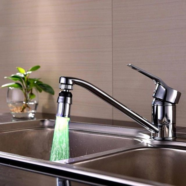 Kitchen//bathroom Shower Rgb Water Faucet Temperature Sensor Tap Led Light