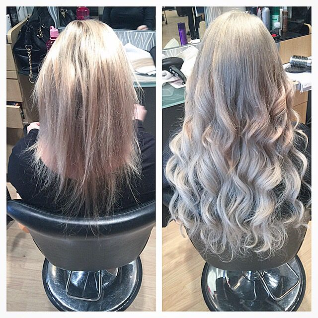 Before And After Silver Blonde With 22 Extensions Looks I Love