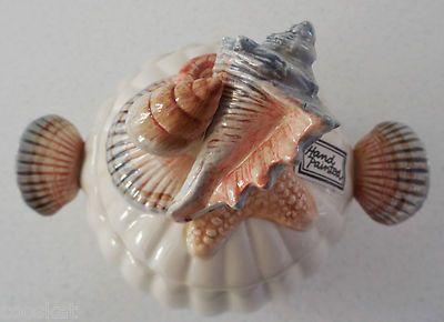 1991 Fitz & Floyd Seahorse Giftware Sugar Bowl & Lid Sea Shells Hand Painted