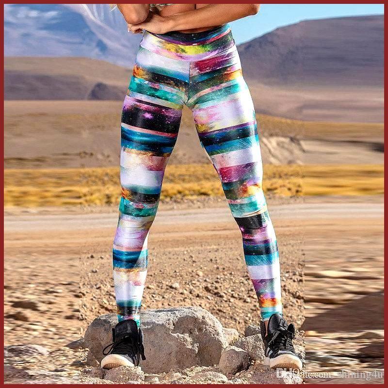 2019 Galaxy Printing Gym Clothing High Waist Exercise Wear Lift Butts Sports Wear Skinny Digital Pri...