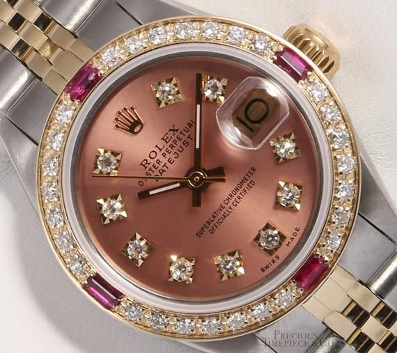 Rolex Ladies Datejust 26mm Two Tone 18k-Salmon Diamond Dial-Ruby Diamond Bezel #rolexwatches