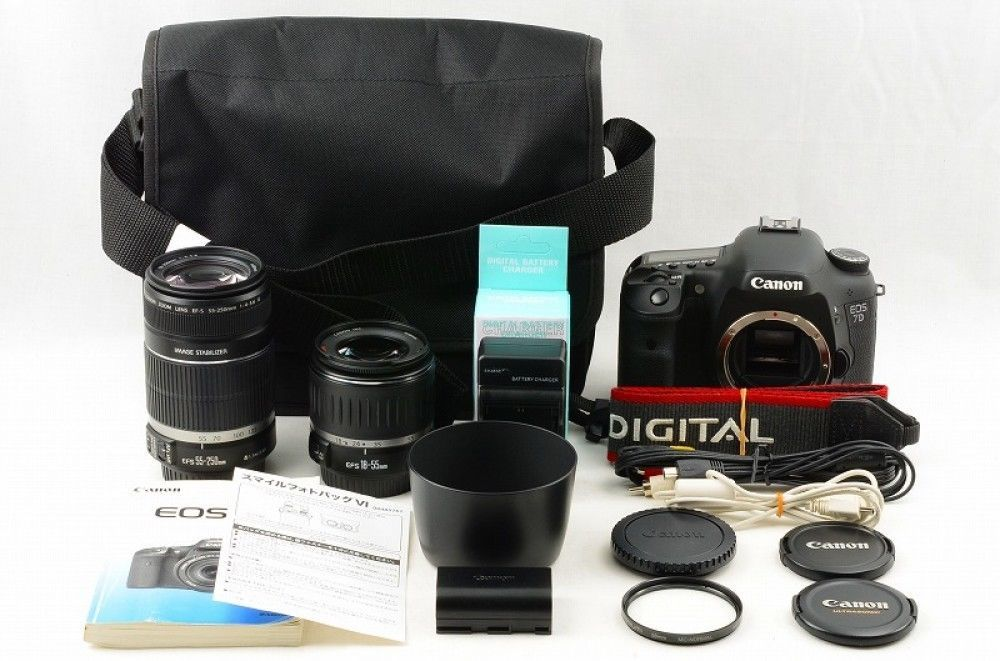 #14539 Canon EOS 7D DOUBLE ZOOM FULL SIZE Excellent Japan Import F/S GIFT Nakano #Canon