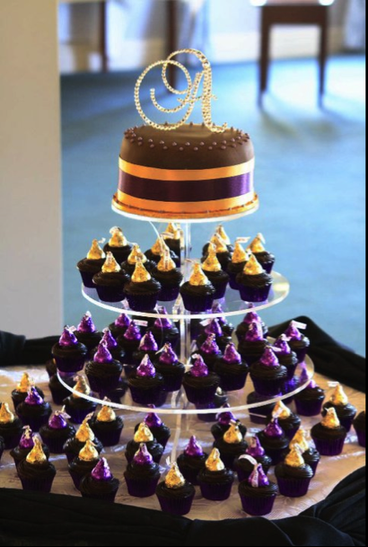 purple gold and black wedding theme   Chocolate mud cake with ...