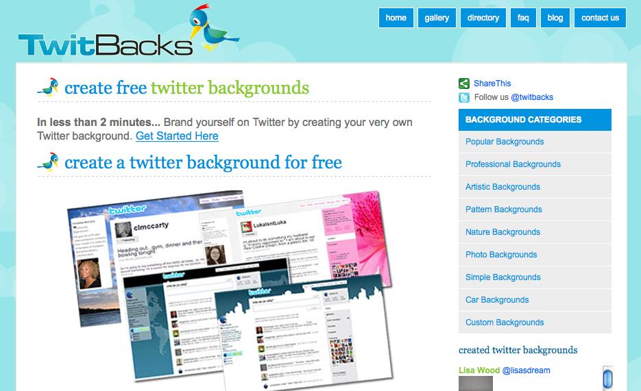 Crea un fondo personalizado para Twitter: TwittBacks