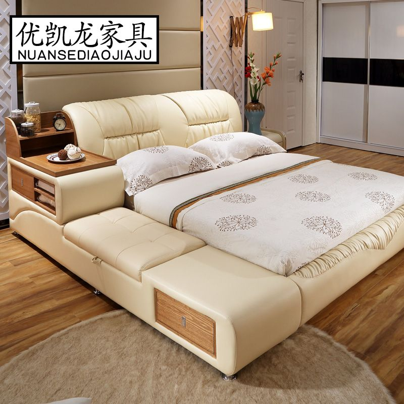 luxury bedroom furniture sets modern leather queen size double bed ...