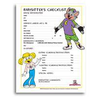 babysitter emergency information sheet