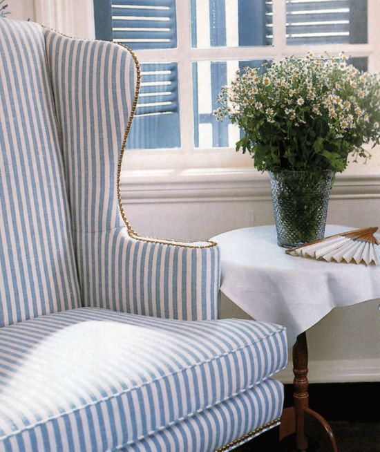 Navy Striped Half Wingback Chair: Blue & White Striped Wingback From Victoria Magazine, June