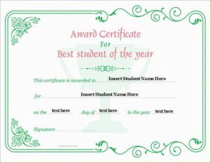 Student Of The Year Award Certificate Template For Ms Word