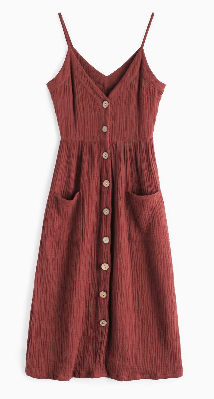 Cami Button Through Woven Midi Dress MAROON
