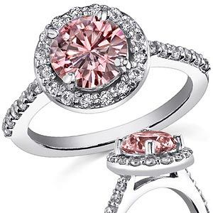 engagement ring diamond gold halo product rings rose front pink and fm white