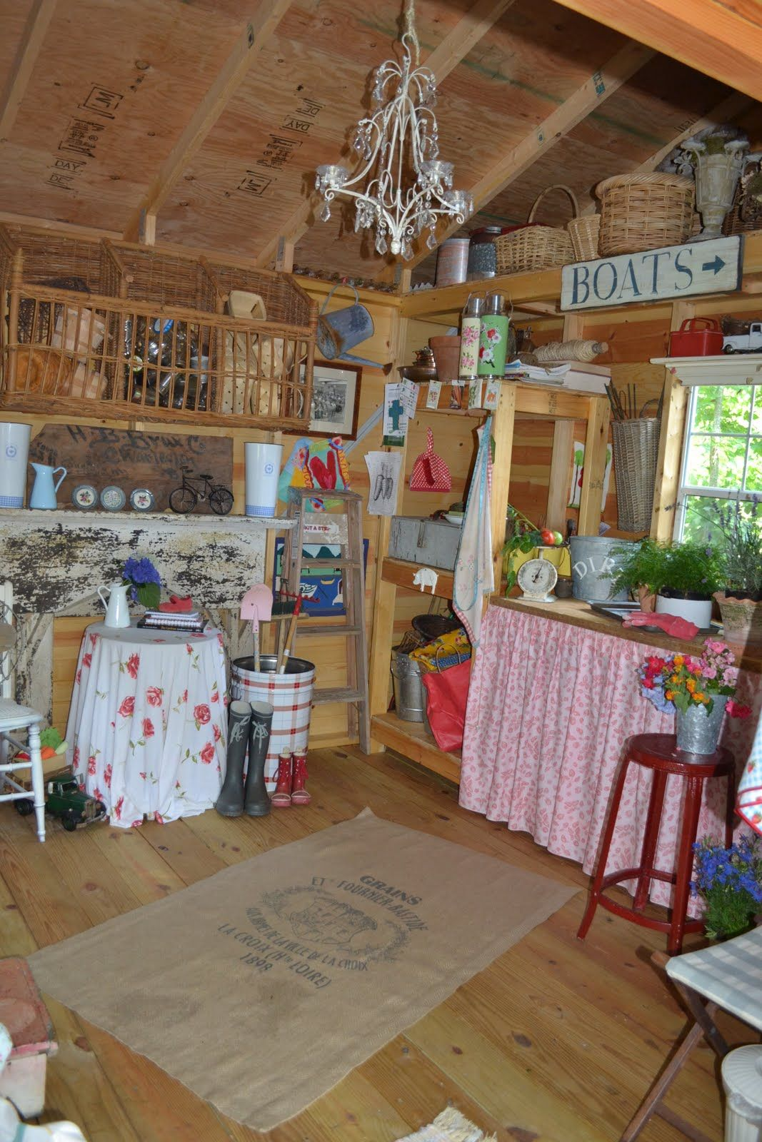 Amazing Fun, Vintage Garden Shed,...use Coffee Sacks To Make Rugs Out