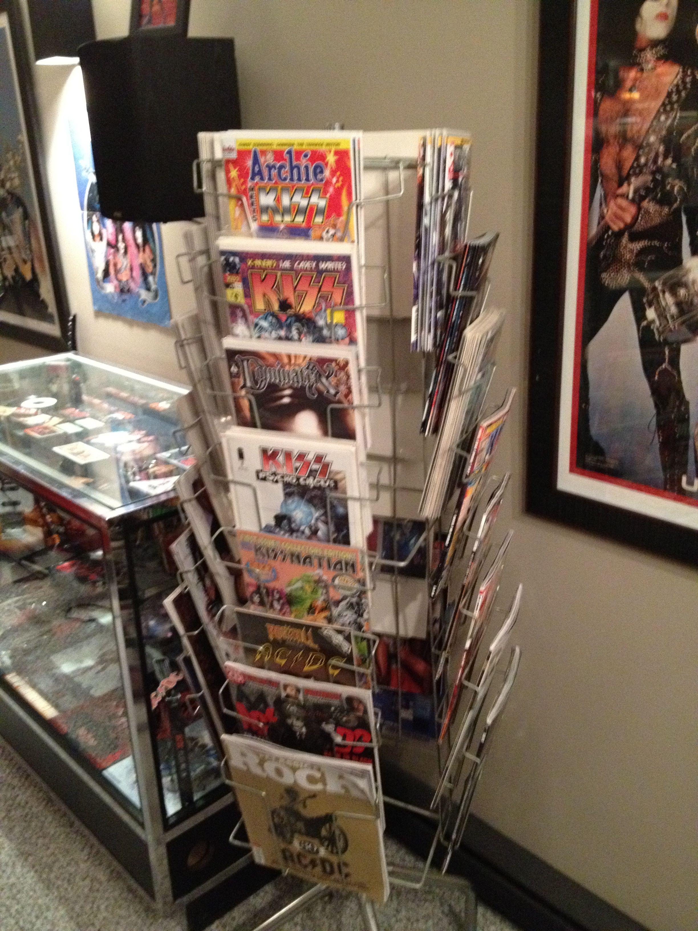 Deans KISS Man Cave - All KISS Comics in vintage comic rack