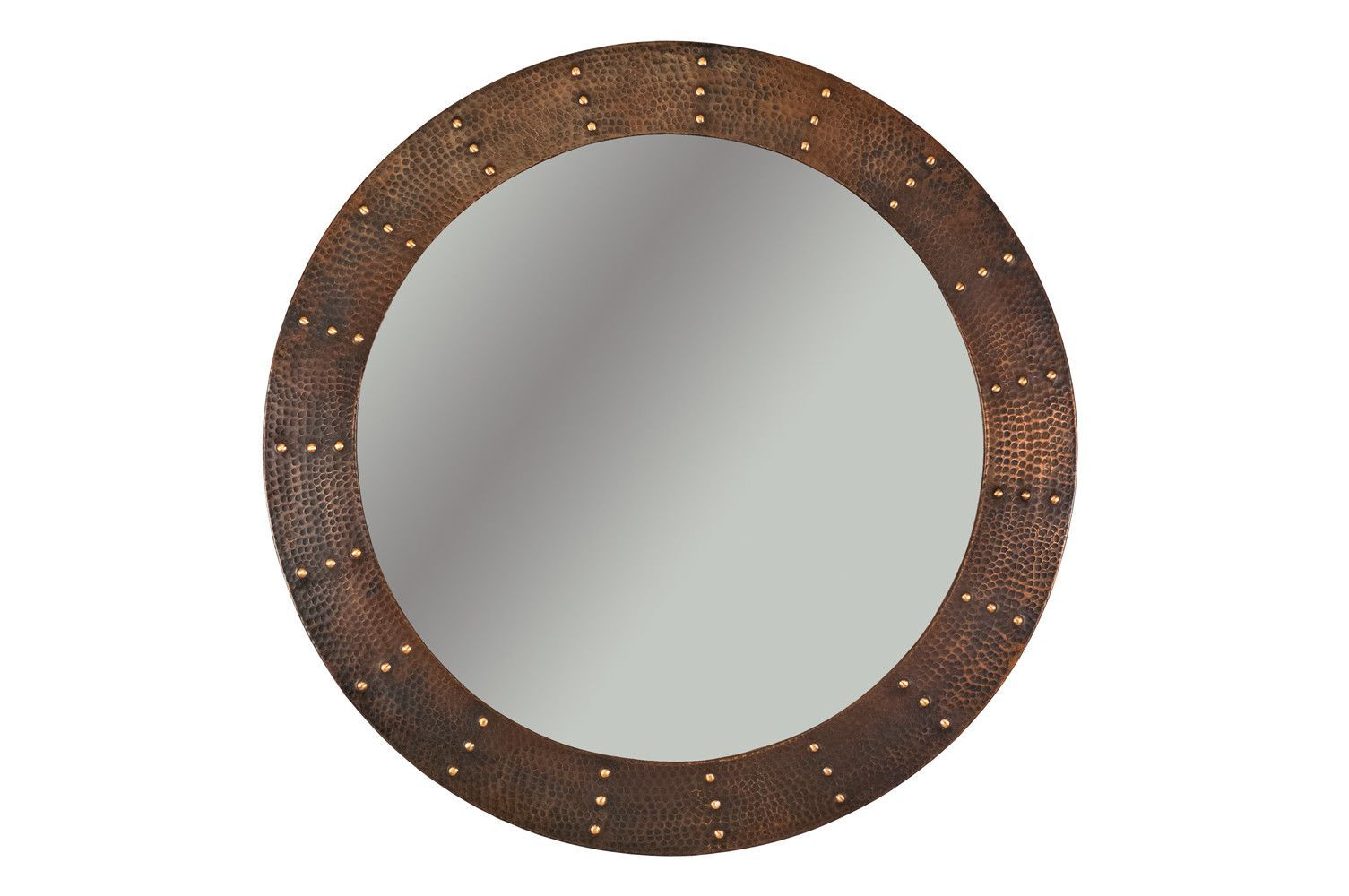 Riveted Hand Hammered Round Copper Mirror