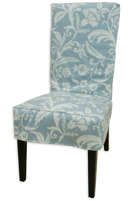 blue dining room chair covers | Blue slipcover for dining room chairs | Slipcovers for ...