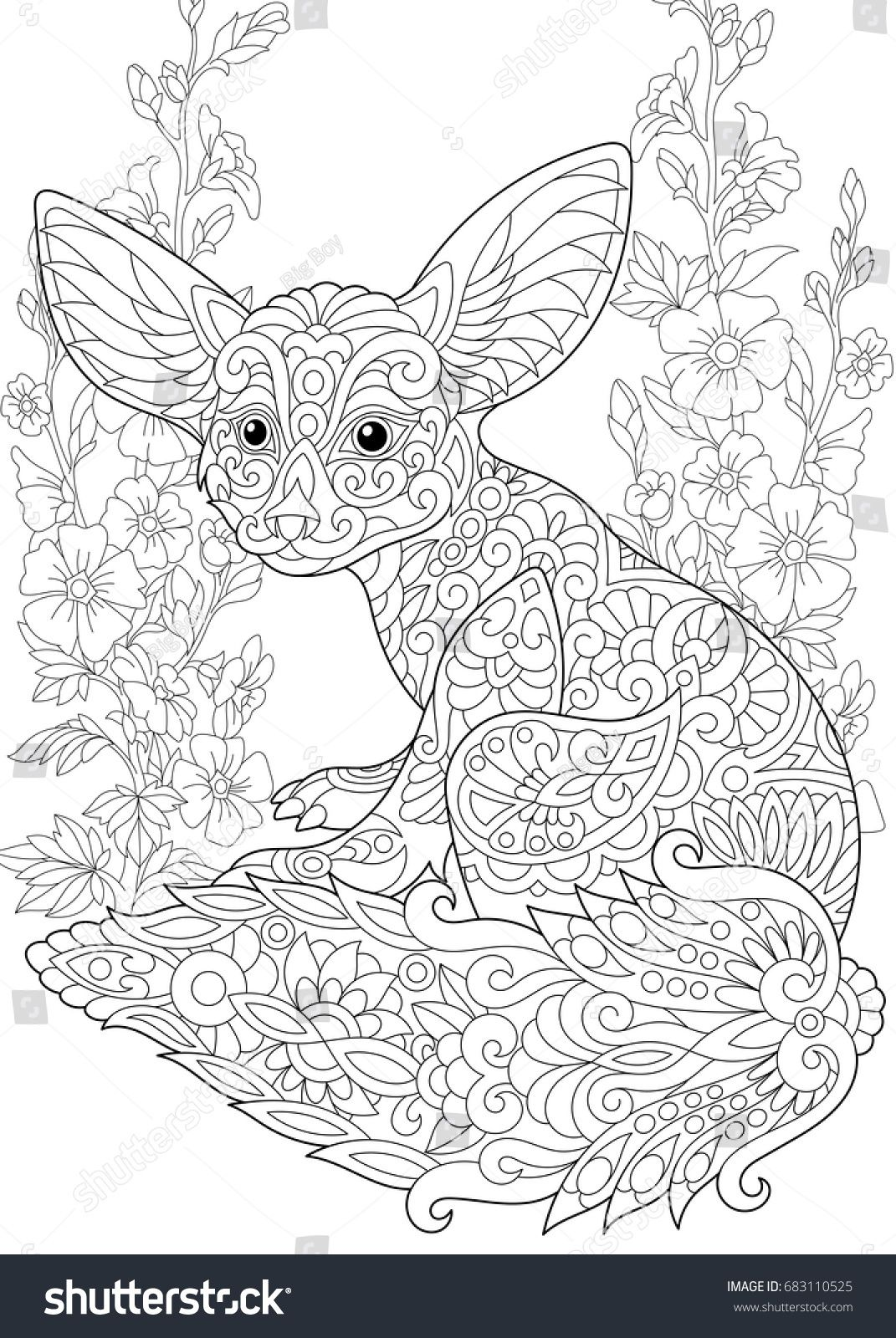 Coloring Page Fennec Fox And Mallow Flowers Freehand Sketch