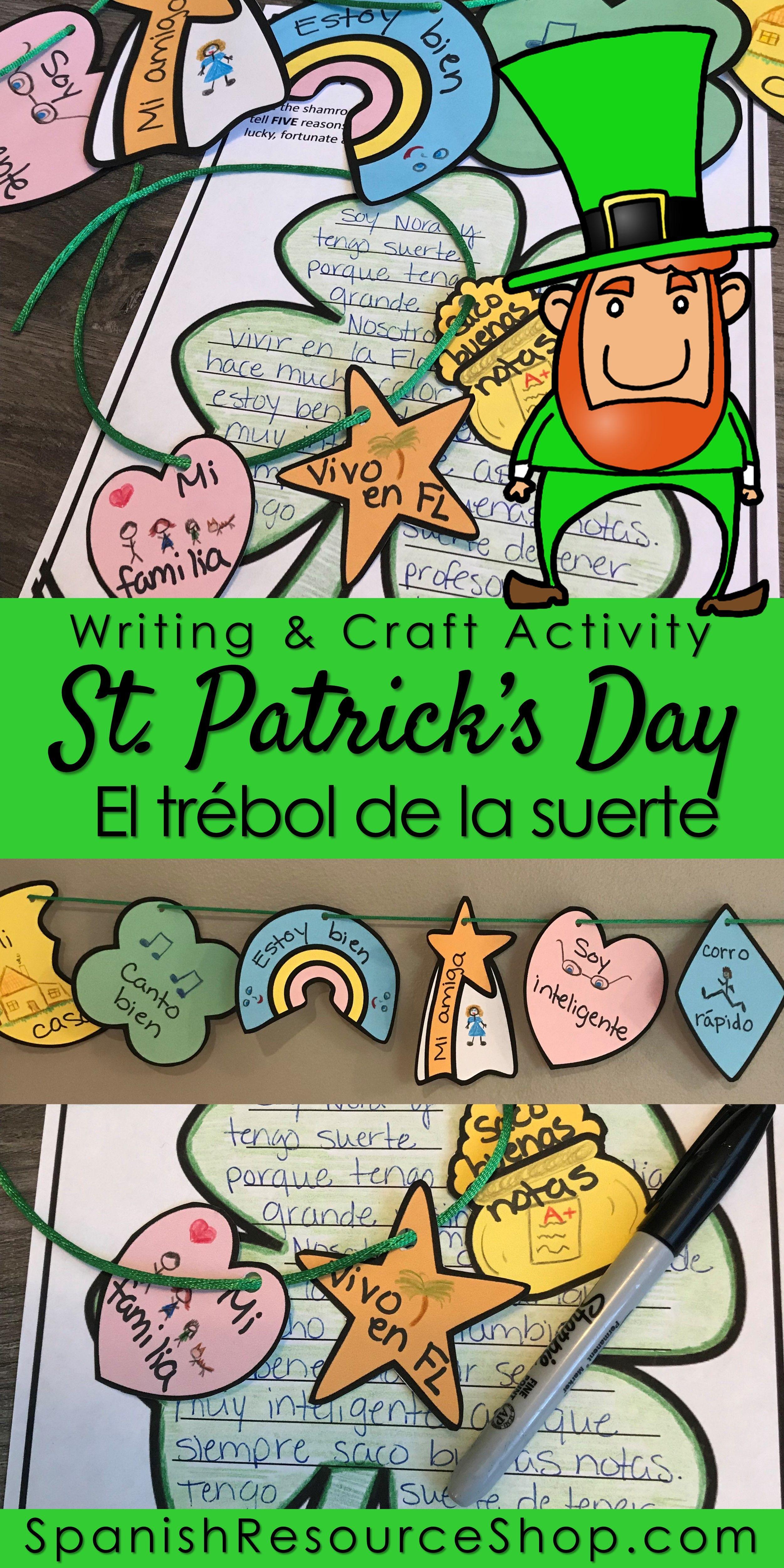 Spanish St Patrick S Day El Trebol De La Suerte Writing