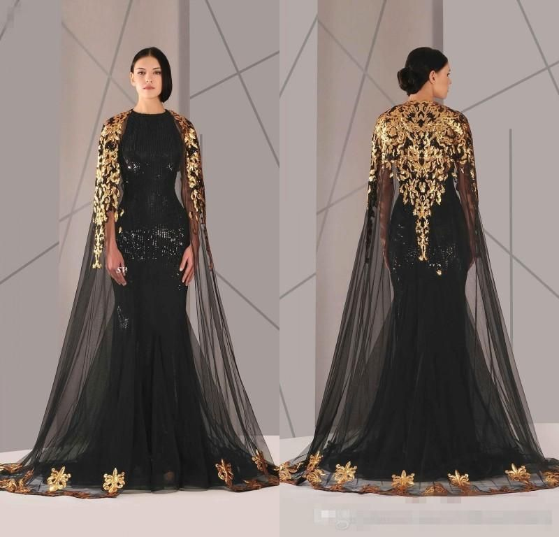 Hot Sale 2016 Arabic Formal Pageant Evening Dresses With Cloak Gold