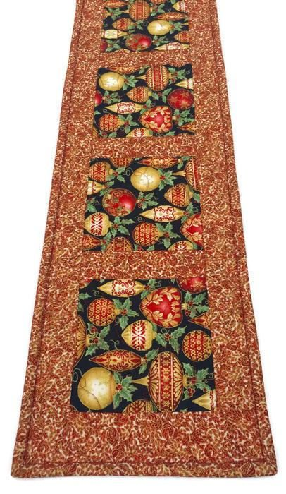 Christmas Ornaments Runner Narrow Quilted Table Red And Gold Decorations Elegant Linens Ornament