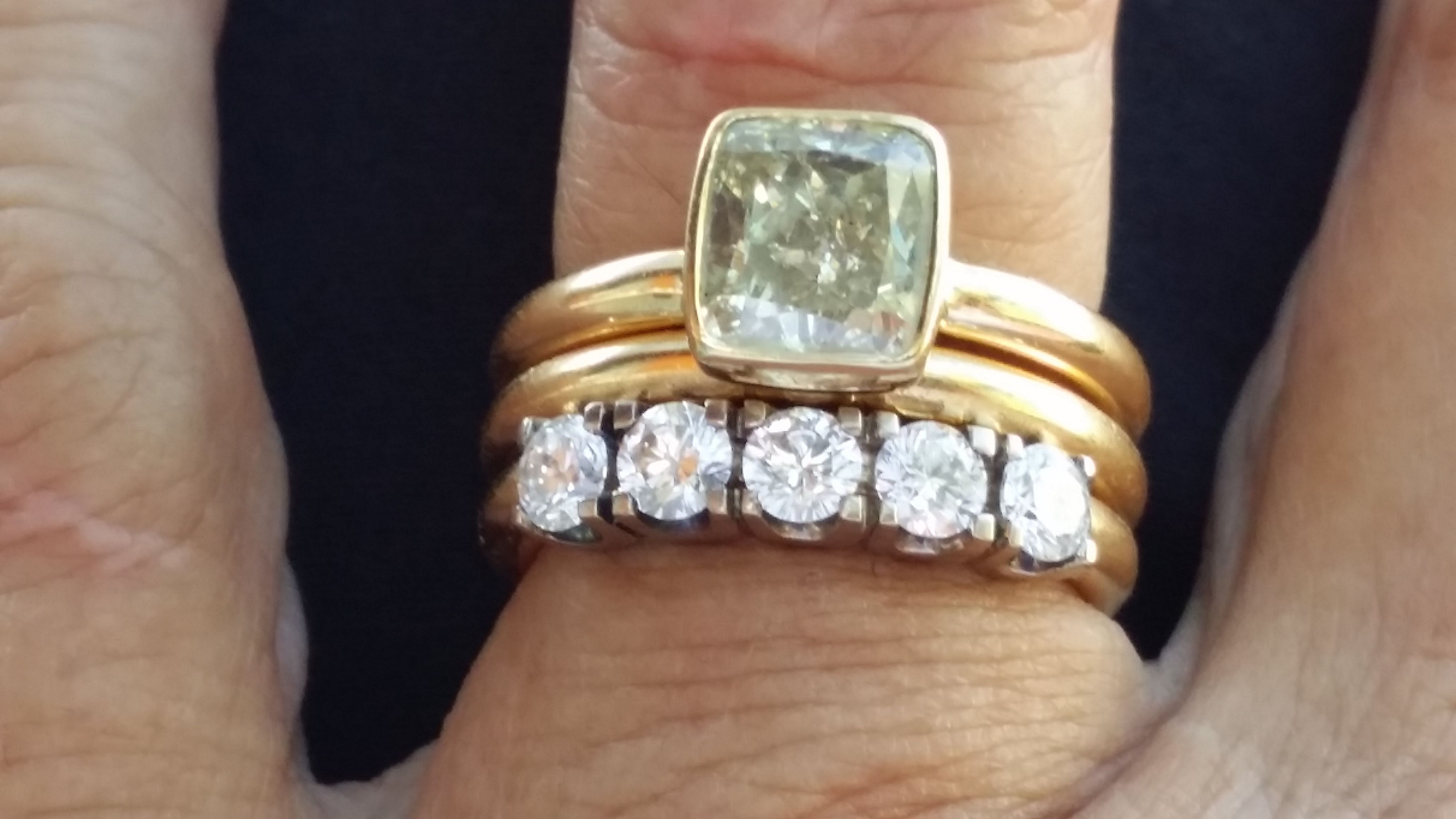 2 58 Fancy Yellow Diamond Set In A Tiffany Style Bezet Setting