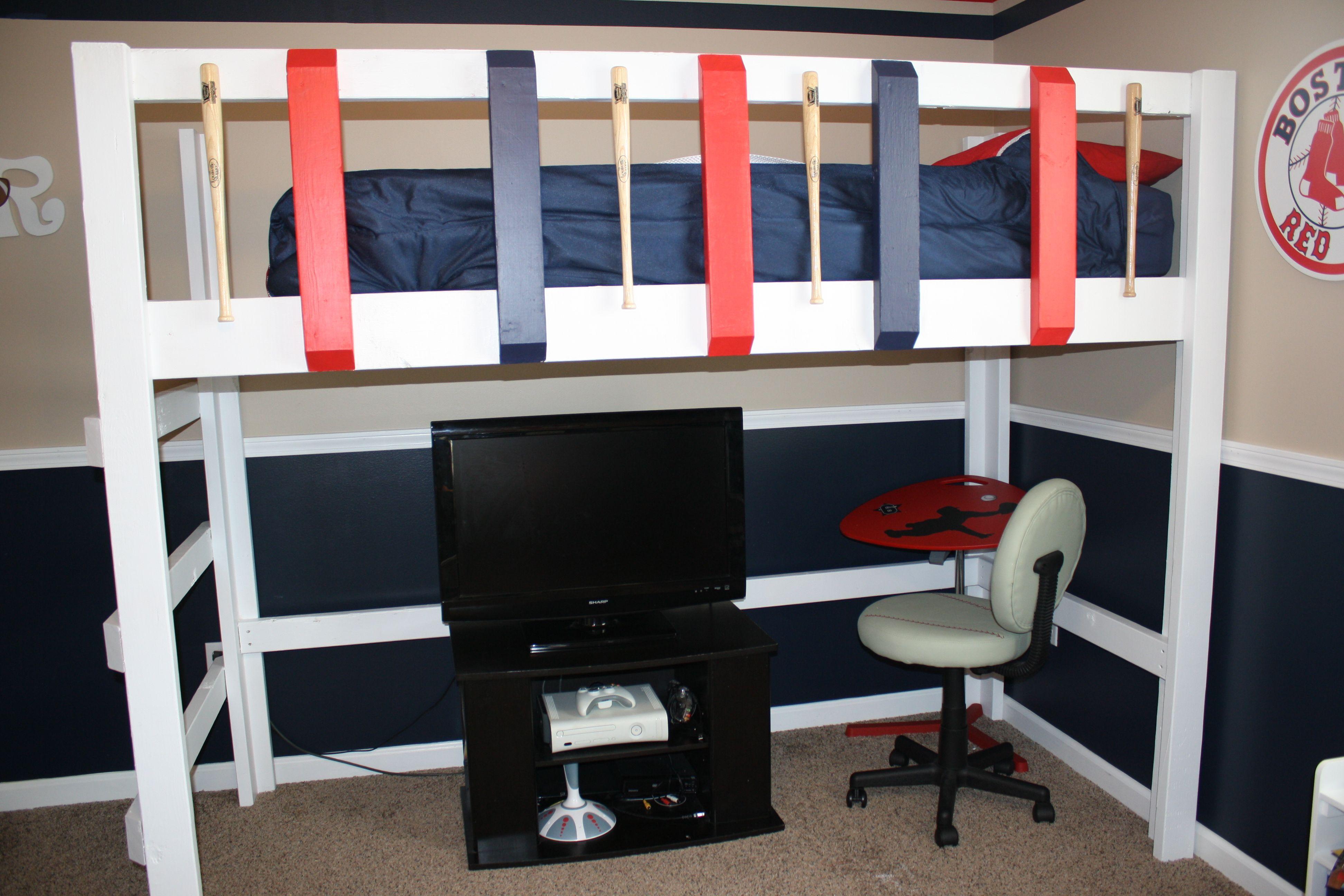 Baseball bat loft bed boston red sox theme 10yr old boy for Boston red sox bedroom ideas