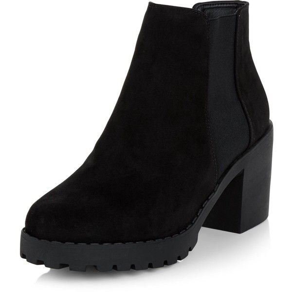 New Look Black Suedette Chunky Chelsea