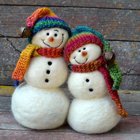 Needle Felted Snow Couple Snowman