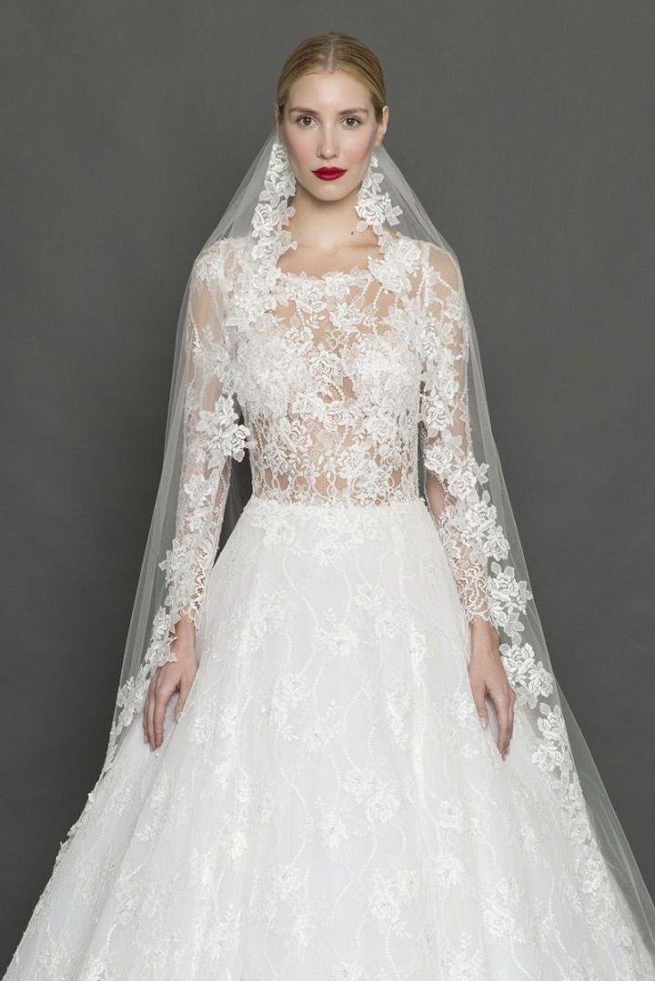 Francesca Miranda illusion bodice lace ball gown wedding dress | itakeyou.co.uk #weddingdress #weddingdresses #laceweddingdress #ballgown #bride #bridalgown #weddinggown #weddinggowns