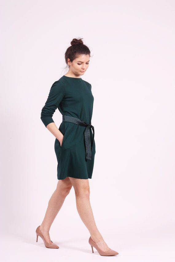 Dark green dress long sleeve dress midi dress with pockets A line dress casual dress autumn dresses simple dress loose dress maternity dress