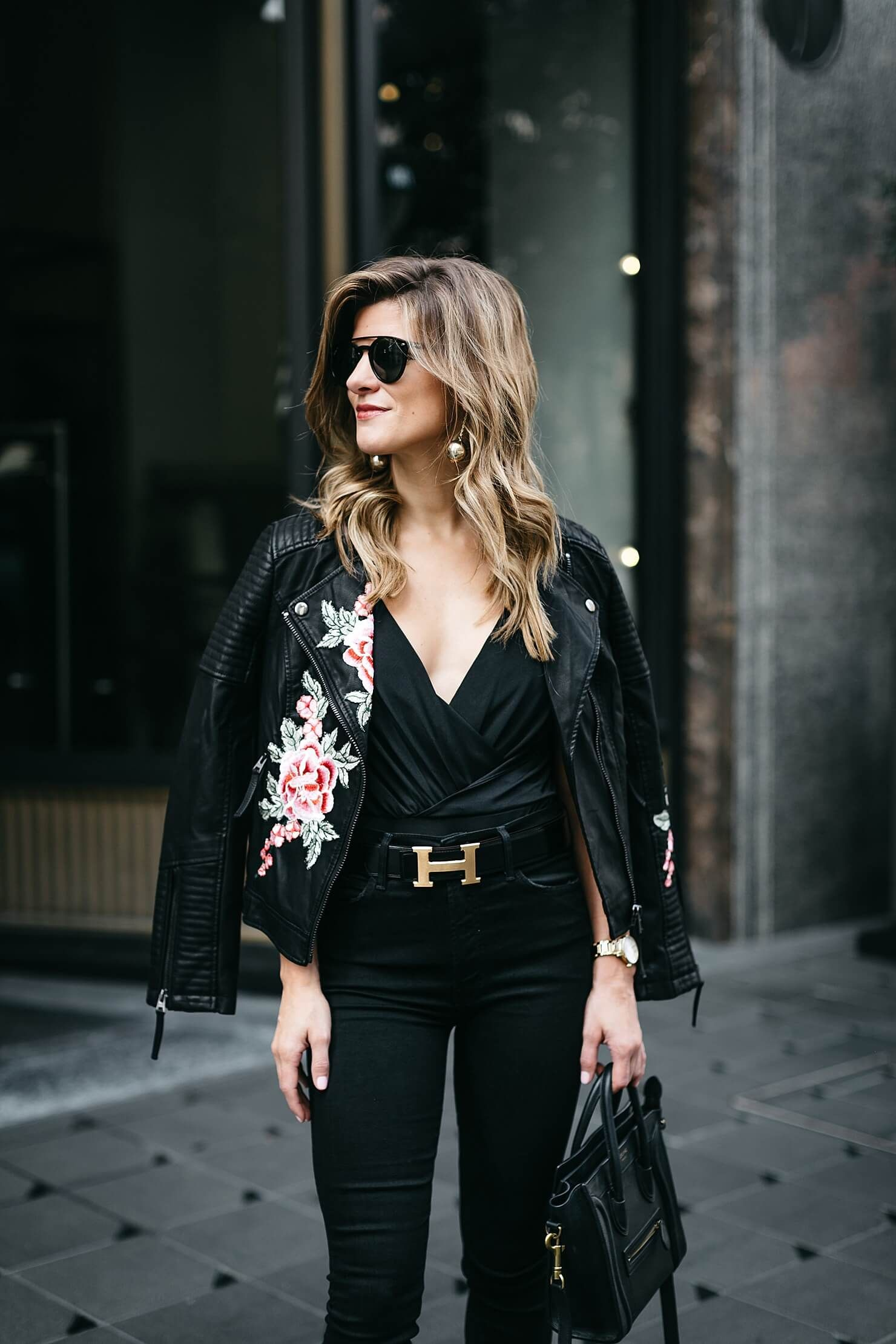 610efc43b03fc all black bodysuit outfit with embroidered leather jacket