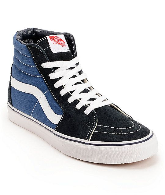 f8684a5d7c1f Vans brings you a classic update with the Sk8 Hi top profile kicks in navy  canvas and black suede uppers. These shoes come with a breathable navy  canvas ...