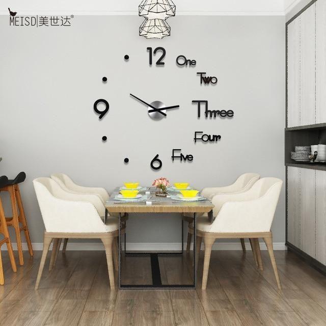 Photo of Modern DIY Adjustable Waterproof Acrylic 3D Wall Clock – Black / Russian Federation / 8MM-80CMx91CM