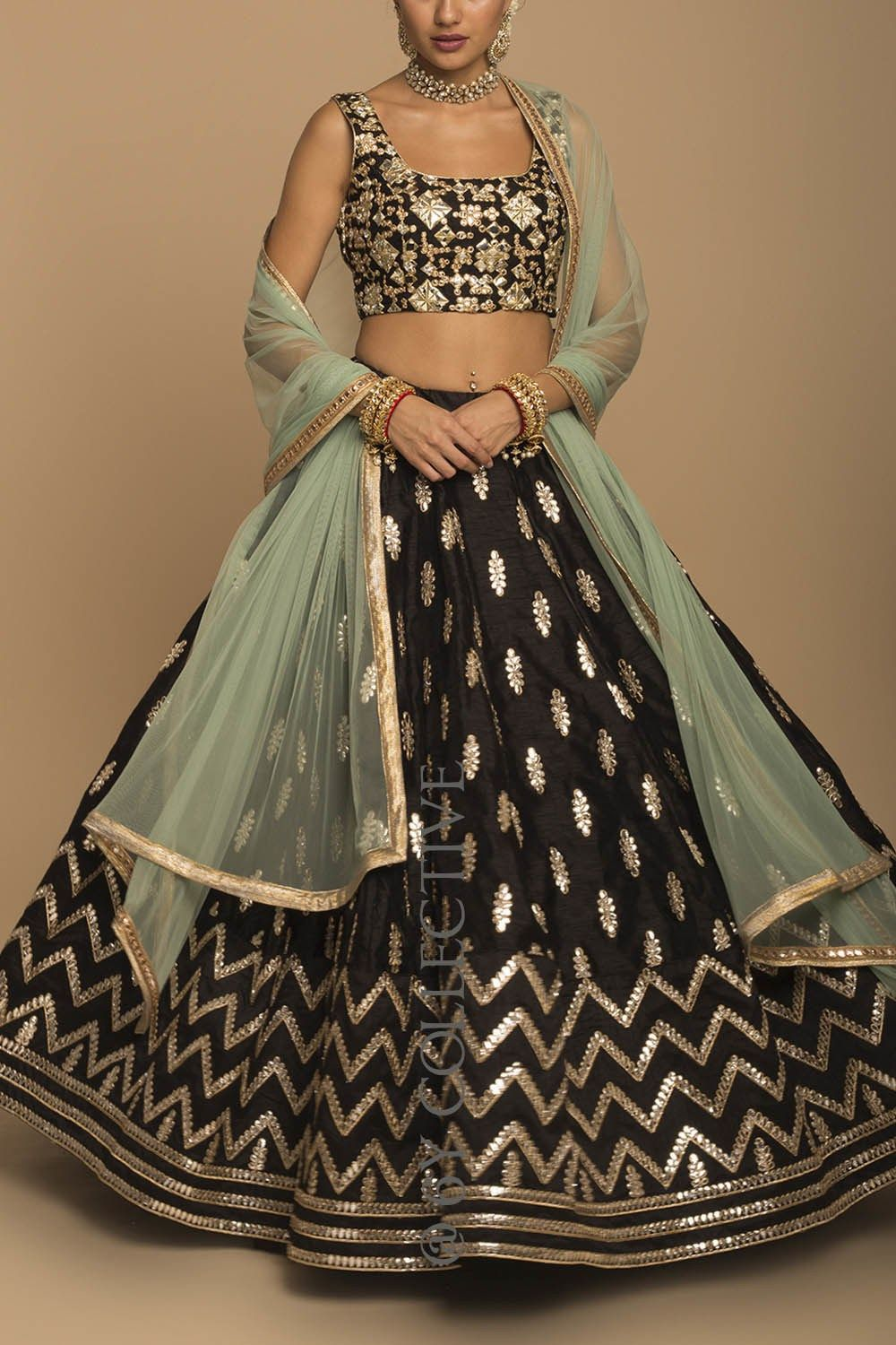 76996751cf Black Jade gota patti mirror work Lehenga with contrast dupatta. Click on  picture to see price. #Frugal2Fab