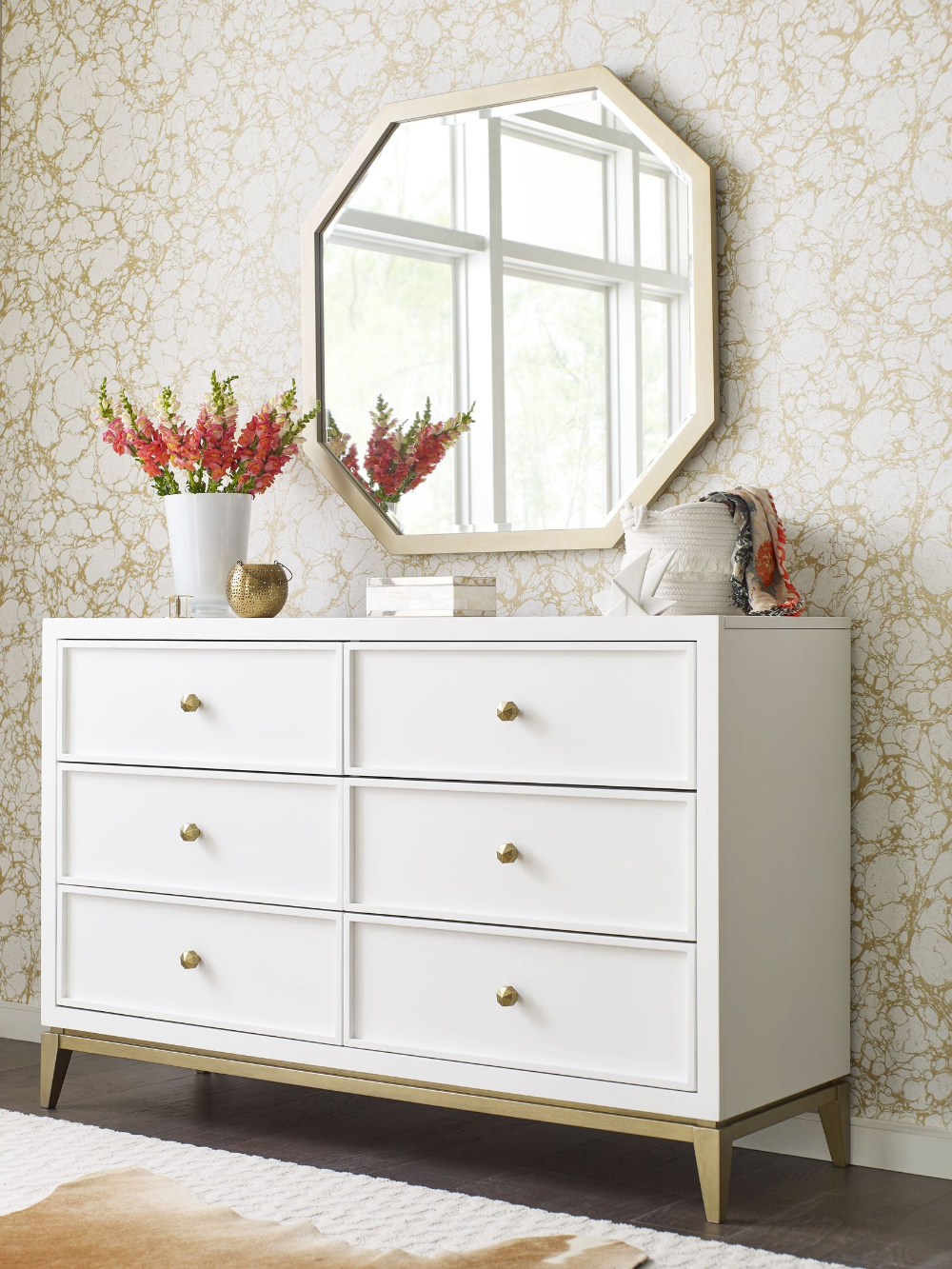 uptown white and gold dresser by