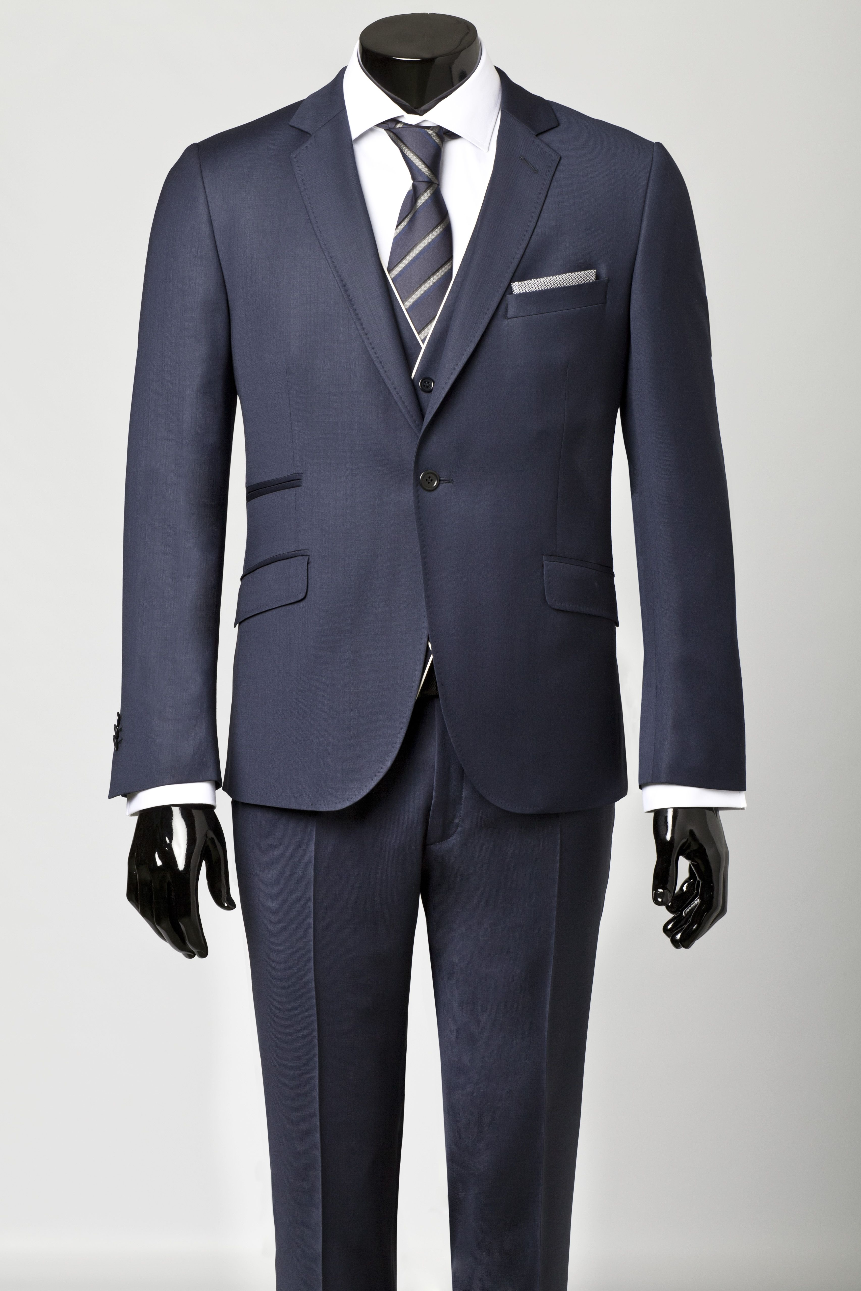Navy blue, one-buttoned suit with waistcoat, white, english-collared ...
