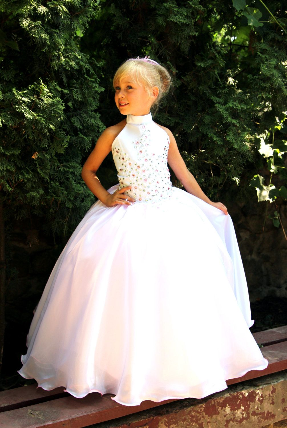 Pink and white flower girls dress birthday wedding party holiday