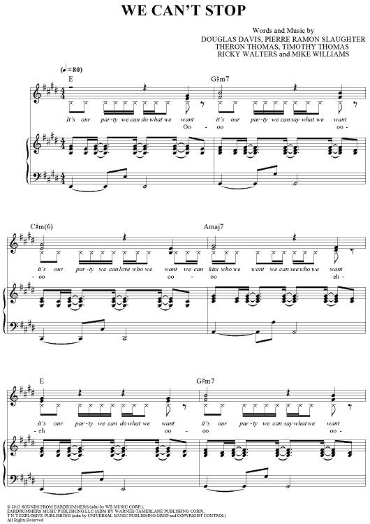 We Cant Stop Sheet Music Onlinesheetmusic Popular Sheet
