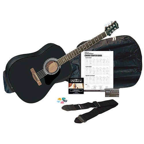 Silvertone Sd3000 Black Acoustic Guitar Package With Tuner Gig Bag Guitar Strap Strings Picks And Chord Chart Walmart Com Guitar Tuners Acoustic Guitar Black Acoustic Guitar