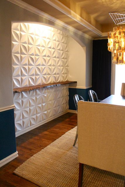 3 D Wall Panels And Live Edge Wood Shelf