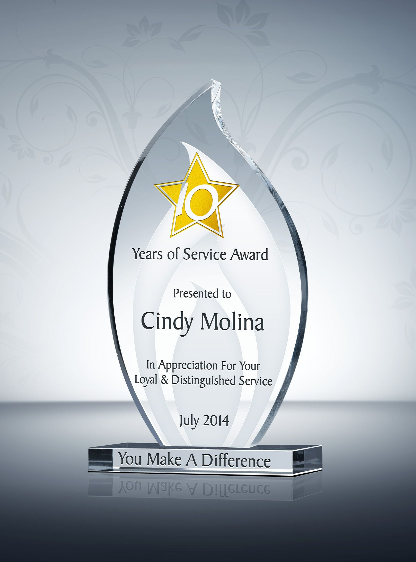 Flame Shaped Long Service Award Plaque Service Awards Award Plaques Company Awards