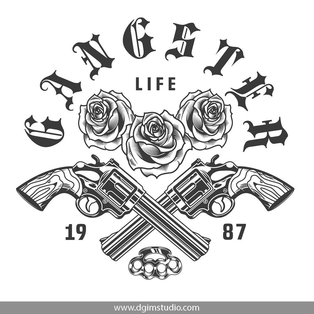 Gangster Bundle Old School Rose Old School Tattoo Sketch Tattoo Design