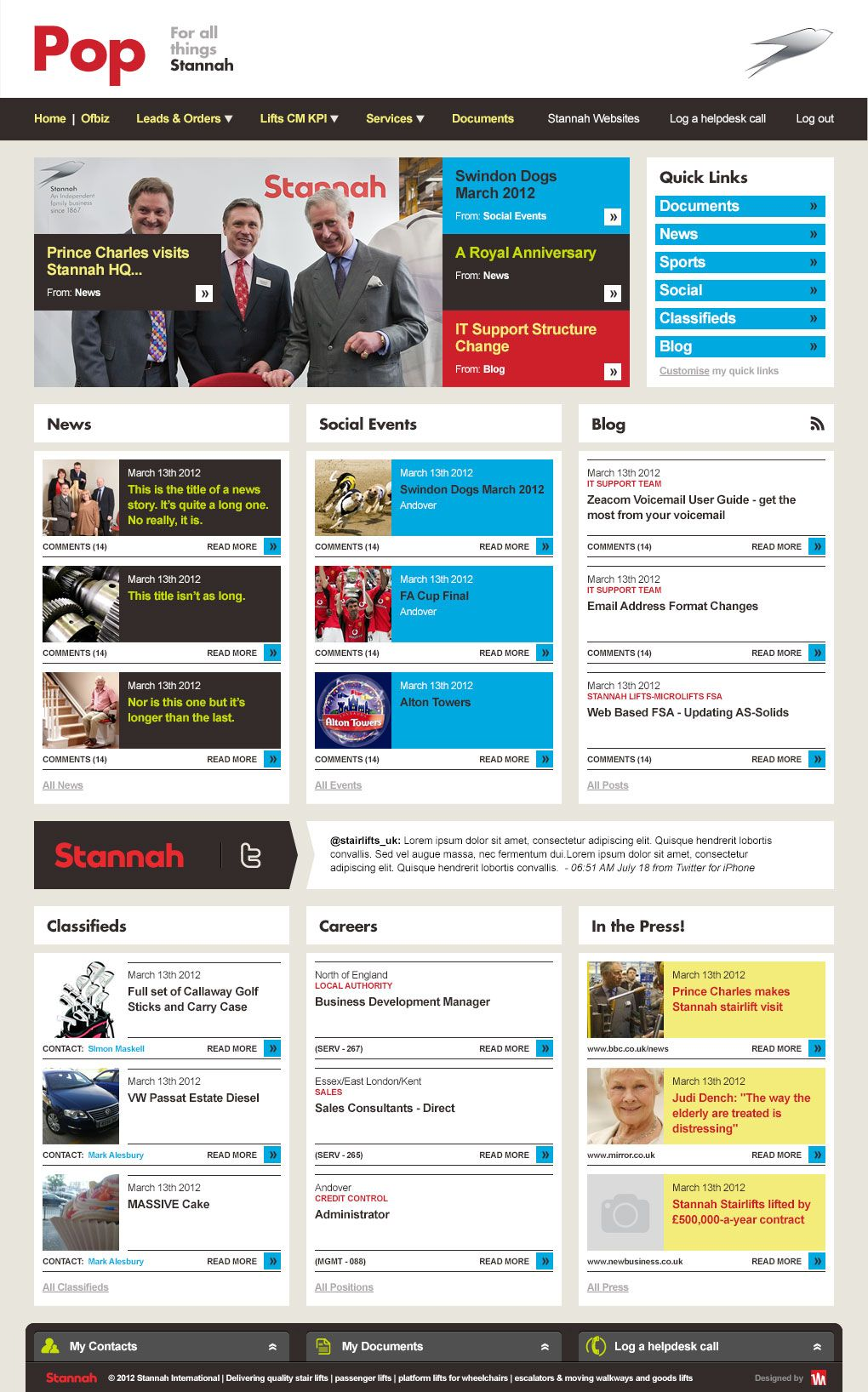 Intranet design for stannah management services for Intranet portal design templates