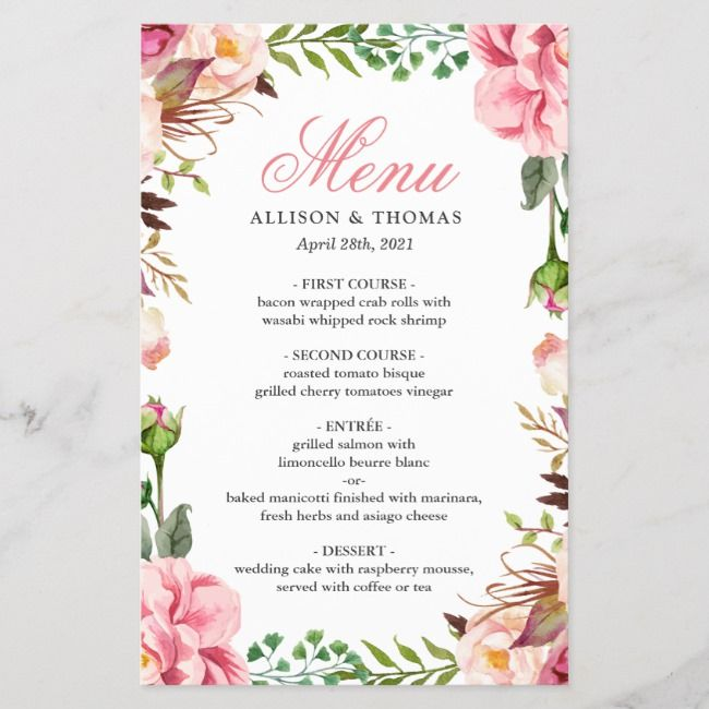 Romantic Pink Floral Border Wedding Menu Card