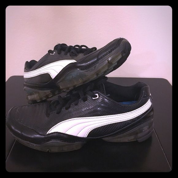 Puma shoes Puma cells, black with white. Women's size 8. Gently used. Make offer. Puma Shoes Athletic Shoes