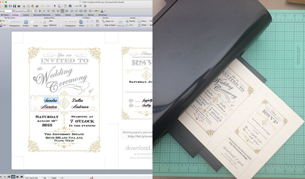 DIY Vintage Wedding Invitation with Art Deco Band Download  Print - self review template