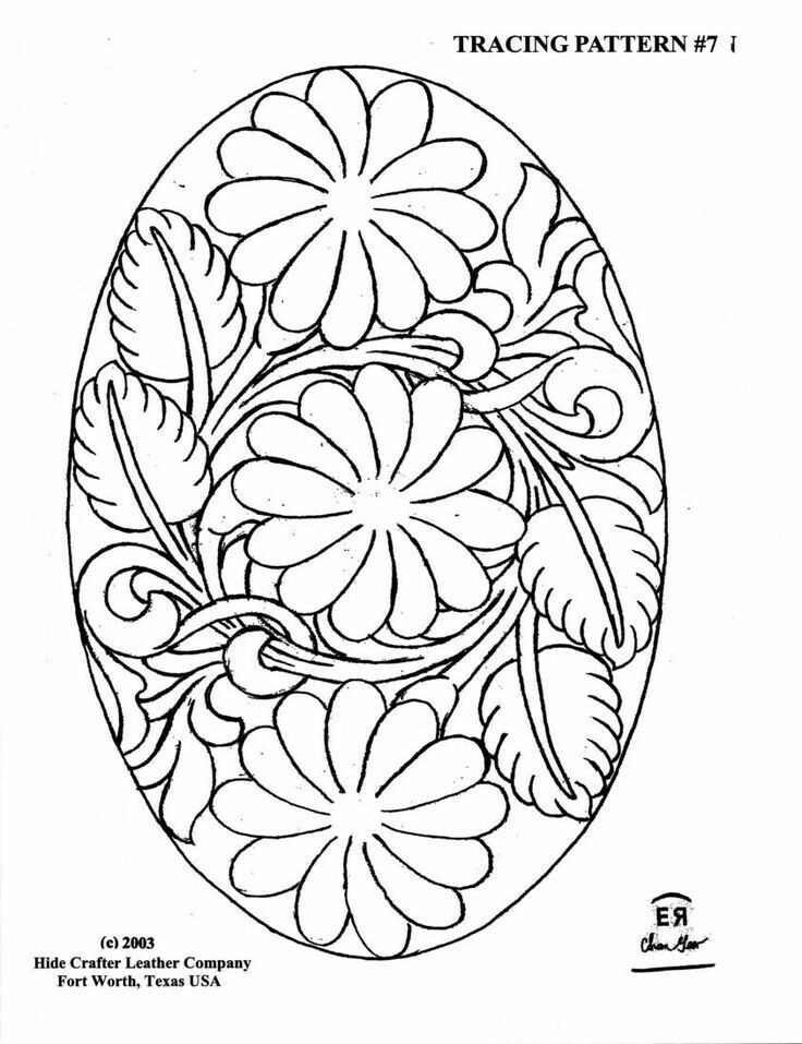 Oval tracing pattern … Leather tooling patterns, Leather