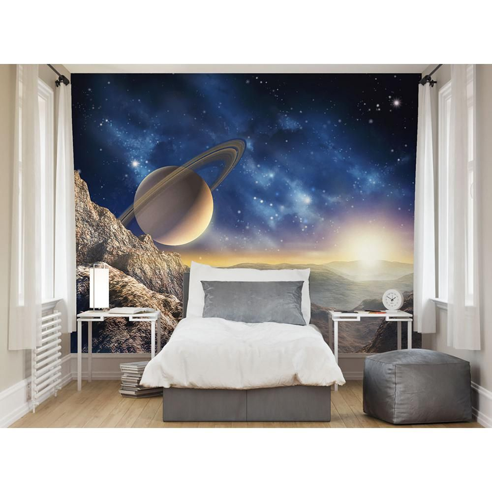Brewster 118 In X 98 In Galaxy Wall Mural Wals0076 The Home Depot Space Themed Bedroom Wall Murals Beautiful Wall Decor
