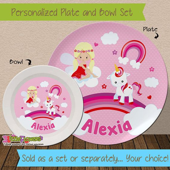Unicorn Plate and Bowl Set - Personalized Melamine Children Plate and Cereal Bowl - Kids Dishes & Unicorn Plate and Bowl Set - Personalized Plastic Children Plate and ...