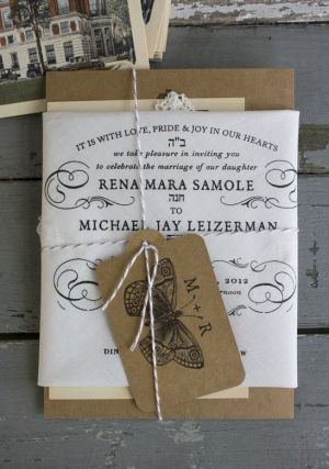Handkerchief Kraft Paper Wedding Invitations Lucky Luxe Couture Correspondence4 300x437 Rena + Michaels Semi Formal Handkerchief Wedding Inv...