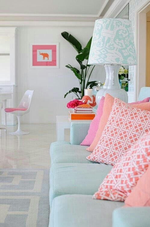 Pink Mint Home Interior Home Decor #pink #and #turquoise #living #room